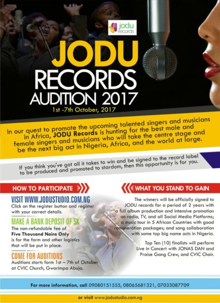 Emerging Record Label, JODU Records Holds Auditions To Sign Talented Artistes @jodurecords