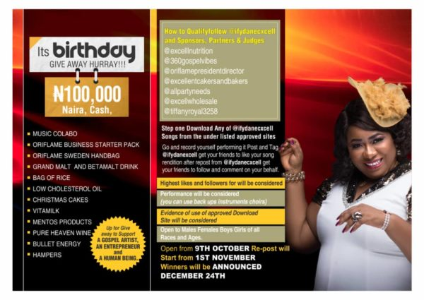 Ify Dan Excell Announces Birthday Giveaway – Prizes Worth #200,000 @ifydanexcell